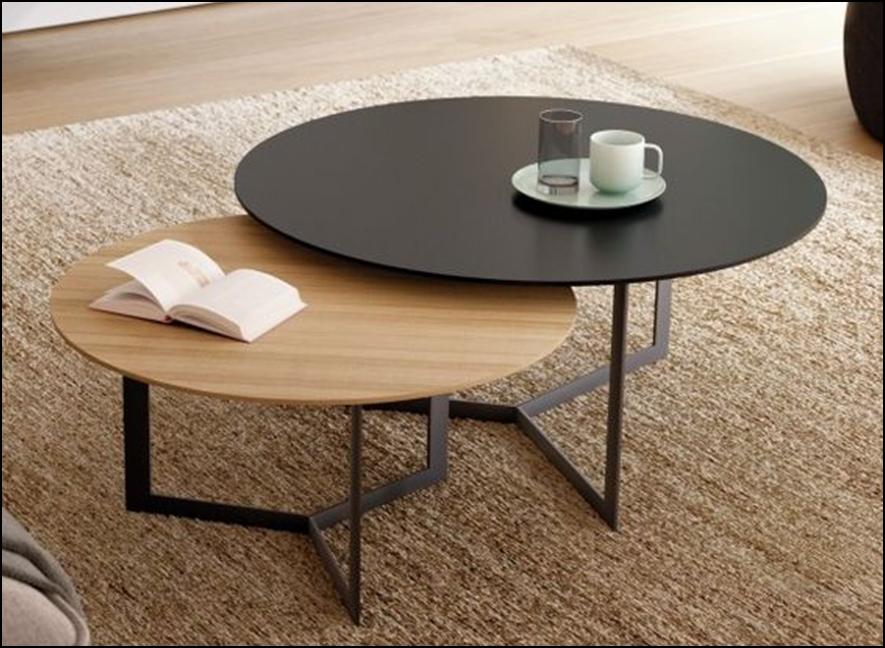 Table Basse Pieds Metal Bois Naturel Mi Furniture