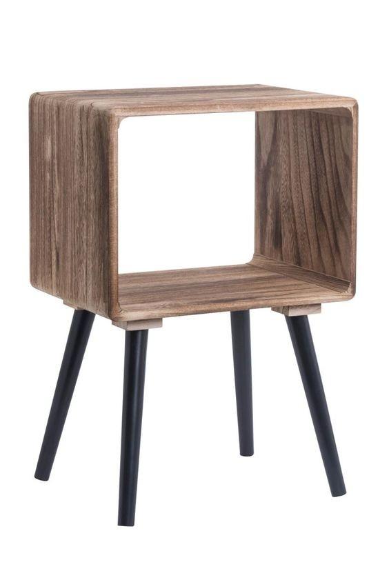 Table De Chevet Cube Bois Pieds Noirs Mi Furniture